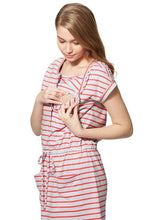 Load image into Gallery viewer, 181013WX Stripe Tie Waist Maternity & Nursing Dress