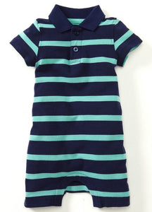 13710 (Blue/ Green)  Polo Striped Baby Bodysuit