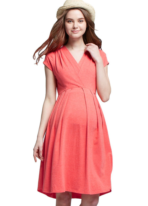 V Neck High Waist Maternity & Nursing Tulip Dress