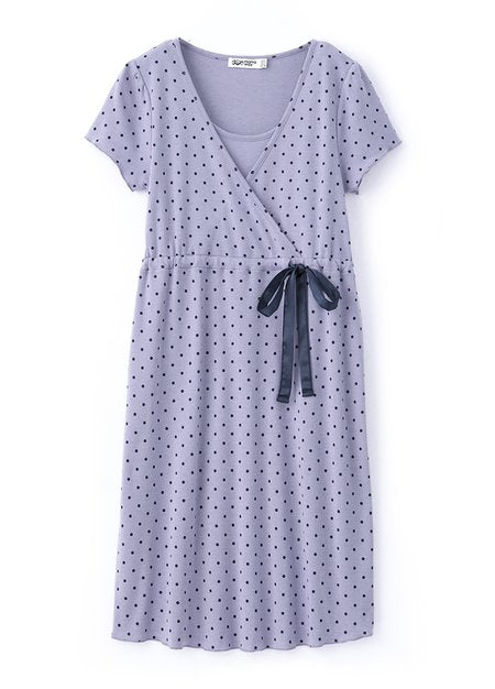 181708P (Purple) Elegant Polka Dot Pregnant and Nursing Jammies