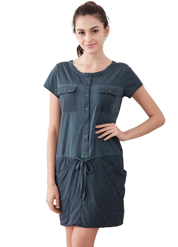Splice Button Up Maternity & Nursing Dress