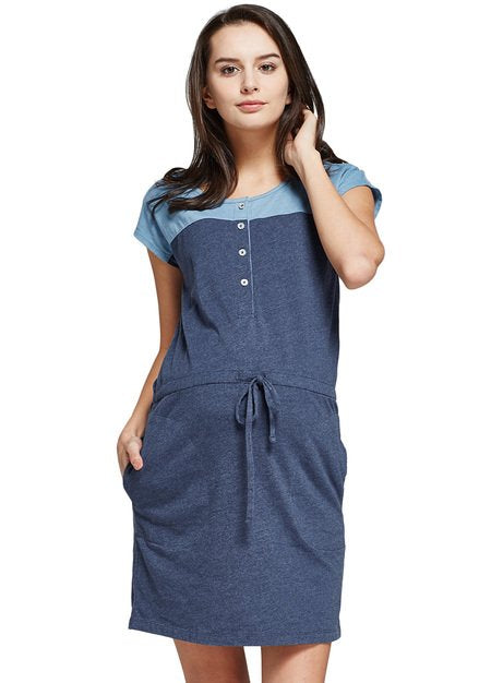 171013 (Deep Blue) Color Block Shift  Maternity and Nursing Dress with Tie