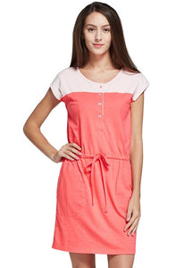 Color Block Shift  Maternity and Nursing Dress with Tie