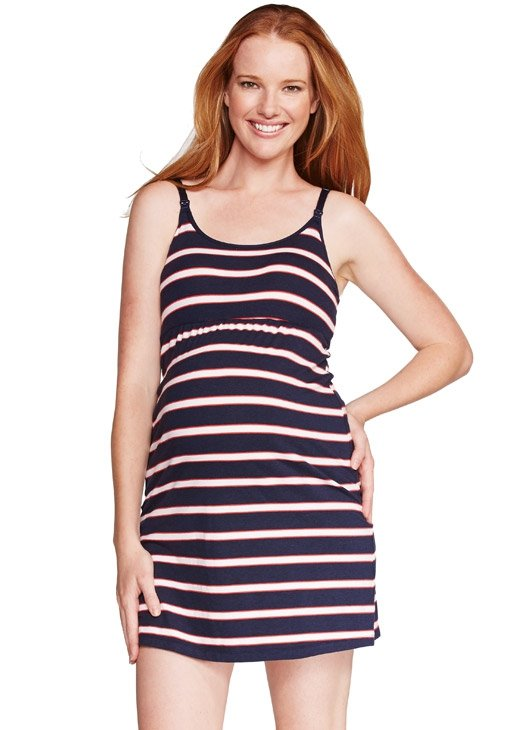 Stripped Singlet Nursing Dress with Built-in Bra
