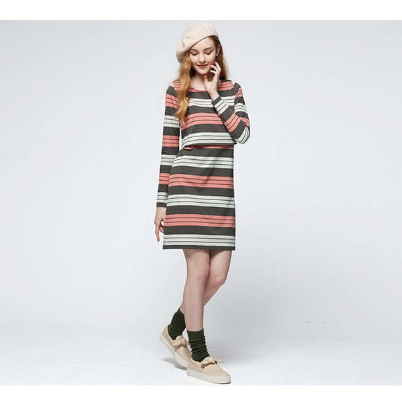 172065CO (Coco/Orange) Stripe Double Layer Maternity & Nursing Dress