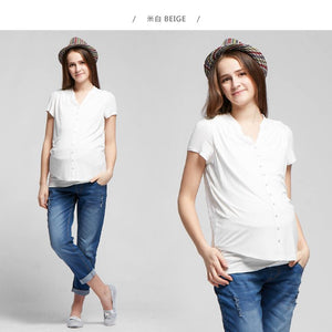 1603W Button Up Lace Back Maternity & Nursing Top