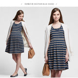 1605XW Stripes Maternity & Nursing Tea Dress - Black/white