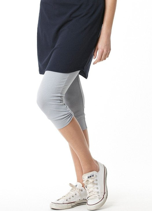 White/ Gray- 3/4 length  maternity leggings
