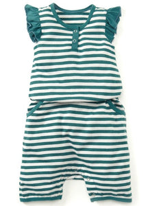 Green Striped Summer Baby Romper