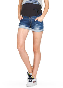 Ripped & Washed Materntiy Denim Shorts