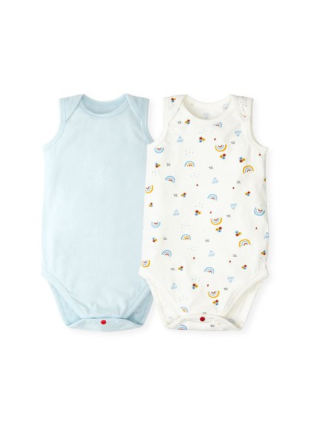 201716  BABY COTTON SLEEVELESS BODYSUIT (Pack of 2)
