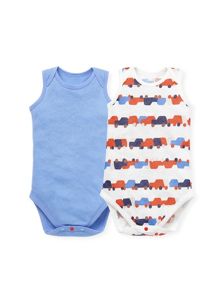 201717 Baby Cotton Mesh Sleeveless Onesies (Pack of 2)