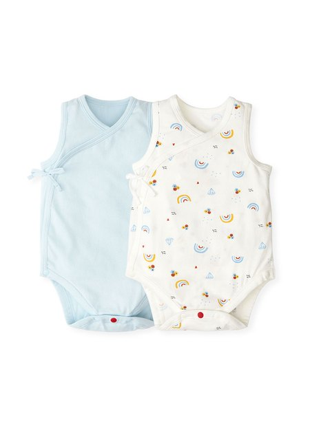 201714 NEWBORN COTTON SLEEVELESS BODYSUIT (Pack of 2)