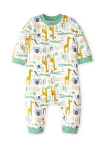 202727 BABY LONG SLEEVE JUMPSUIT - ZOO/ TROPICAL RAINFOREST