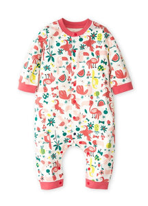 202727 BABY LONG SLEEVE JUMPSUIT - ZOO/ TROPICAL PARADISE