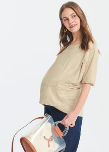 Hem Pleated Maternity and Nursing Top