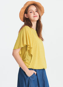191004Y Ruffled Sleeve Maternity and Nursing Top