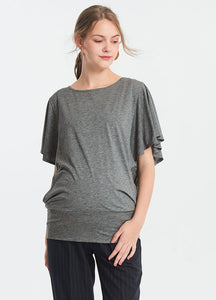Ruffled Sleeve Maternity and Nursing Top
