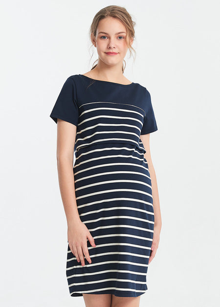 191005NW Stripey Maternity and Nursing Dress