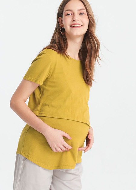 Splice and Slant Hem Maternity and Nursing Top