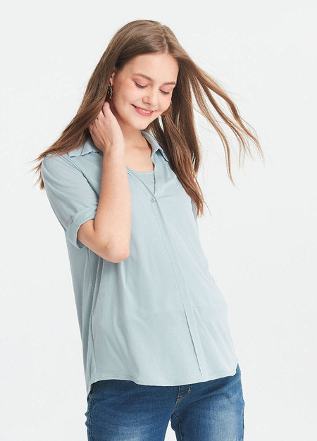 191010B I-Cool V-Neck Maternity and Nursing Blouse