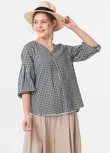 Woven Plaid Maternity and Nursing Wear