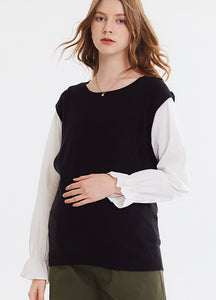 192072X Double Layer Knitted Maternity & Nursing Top