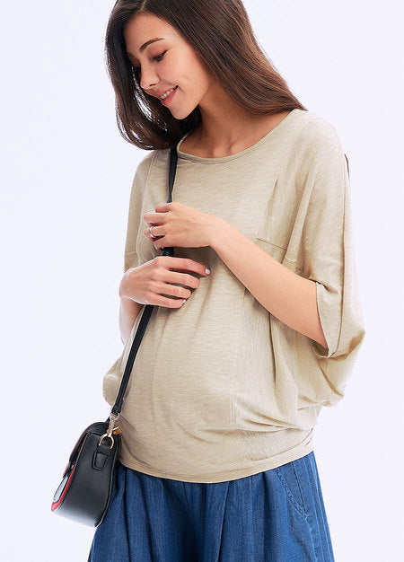 201002C  Batwing Sleeve Maternity & Nursing Tee - GREEN