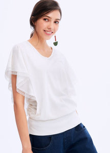 201004W RUFFLE SLEEVE MATERNITY & NURSING TOP - WHITE