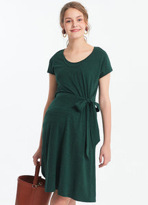 191001G Elegant overlap with Ribbon Maternity & Nursing Dress