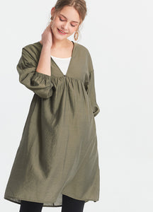 Lantern sleeve flat weave maternity and nursing dress