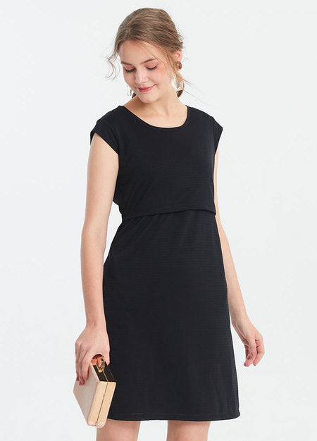 191009X Round Neck Maternity and Nursing Dress