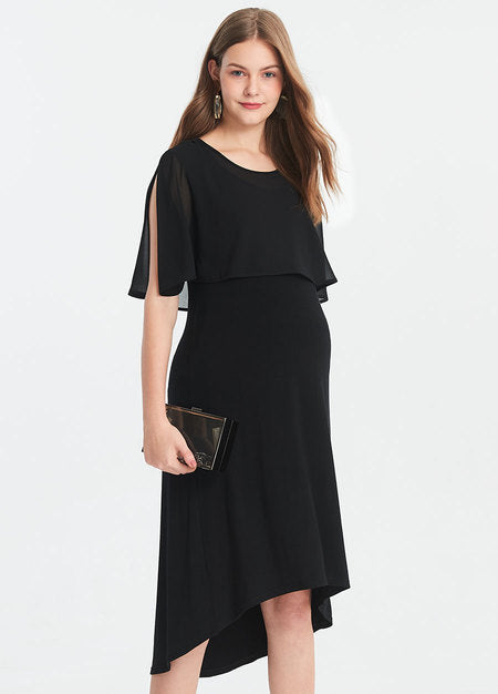 191018X Elegant  Flowy Chiffon  Maternity and Nursing Dress