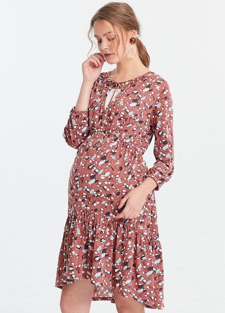 191033R Floral Lotus Leaf Maternity and Nursing Dress