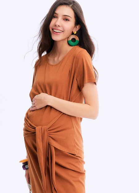 201001K SIDE TIE MATERNITY & NURSING DRESS