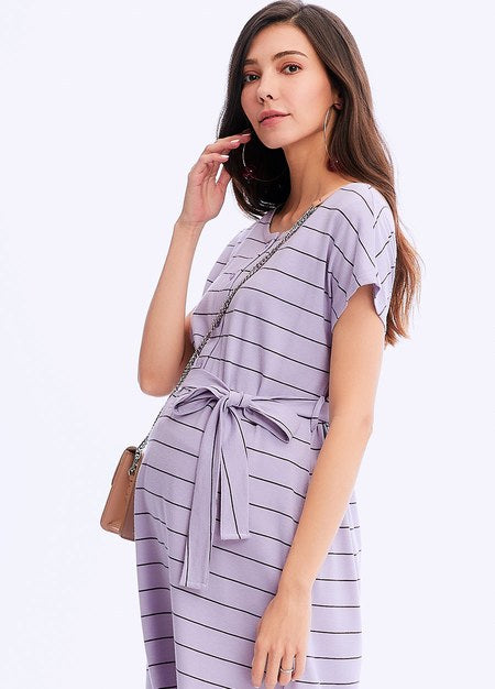 201022P DAILY STRIPE MATERNITY & NURSING DRESS