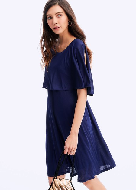 201033B RUFFLE SLEEVE MATERNITY & NURSING DRESS