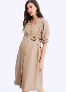 201084C ELEGANT MATERNITY & NURSING SHIRT DRESS