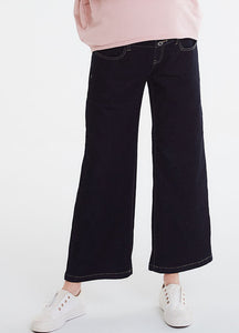 Wide Leg Cropped Maternity Jeans