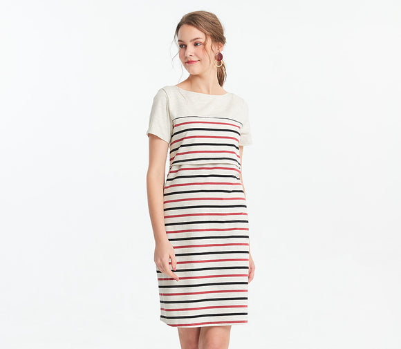 191005WX Stripey Maternity and Nursing Dress