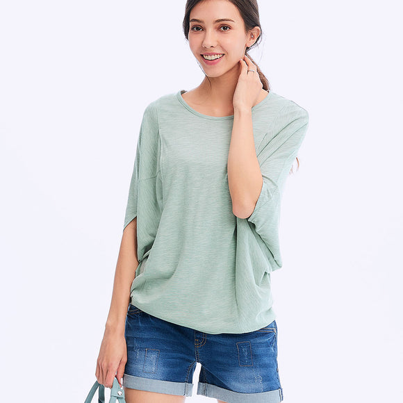 201002G  Batwing Sleeve Maternity & Nursing Tee - GREEN