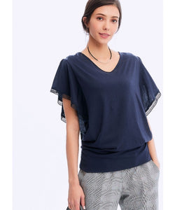 201004B7 RUFFLE SLEEVE MATERNITY & NURSING TOP - NAVY