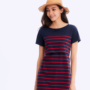 201005B Stripe Maternity & Nursing Dress