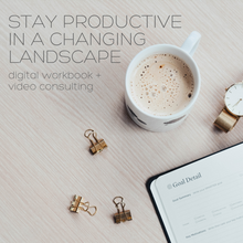 Stay Productive Workbook and Consulting Image of Coffee and Planning Tools