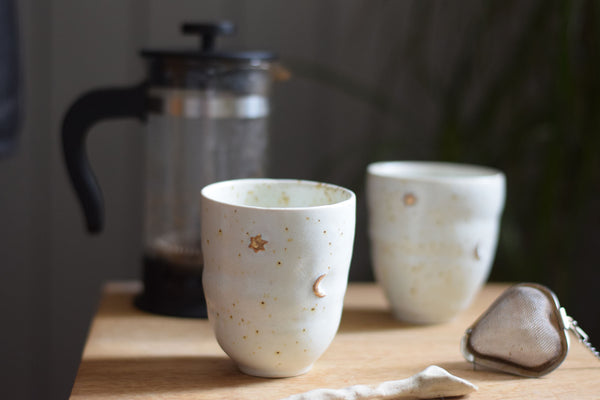 Gold moon & star coffee cup