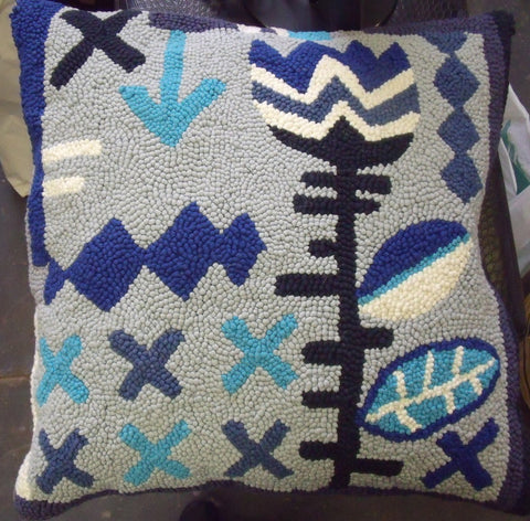 Blue African Tulip Hooked Pillow