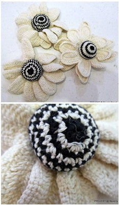 White With Puffy Centre Flower Brooch