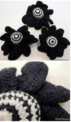 Black With Puffy Centre Flower Brooch