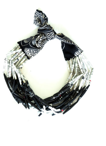 Fabric Necklace Open Black & White