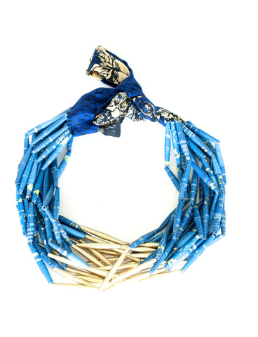 Fabric Necklace Open Gold & Blue